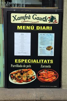 Xamfra Gaudi restaurant menu in Barcelona, Spain