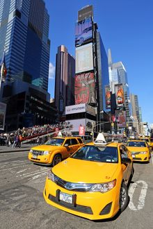 Yellow taxi cabs in Times Square, New York. America