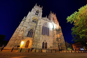 York Minster Cathedral at night in York, Yorkshire, England