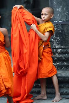 Young Buddhist monk at Angkor Wat Temple in Siem Reap, Cambodia