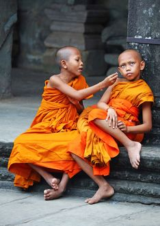 Young Buddhist monks at Angkor Wat Temple in Siem Reap, Cambodia